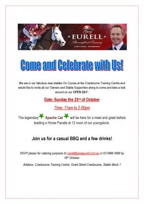 OPEN DAY 23rd October - ALL WELCOME!