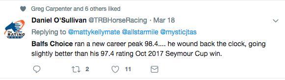 Career Peak of 98.4 for Balf's Choice
