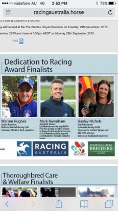 Dedication to racing award finalists.