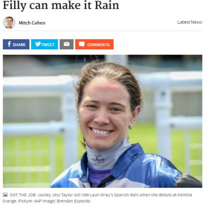 Jess Taylor and Spanish Rain - 'Filly can make it Rain'