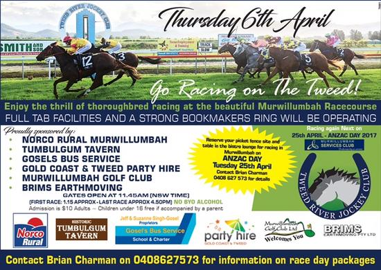 Racing On The Tweed Returns To Murwillumbah On Thursday, The 6th Of April