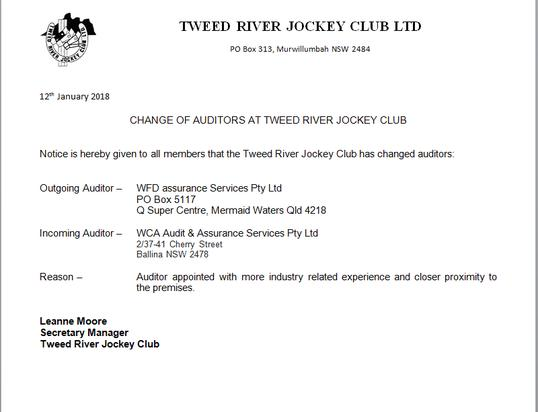 Notice Of Change To The TRJC Auditors For Members