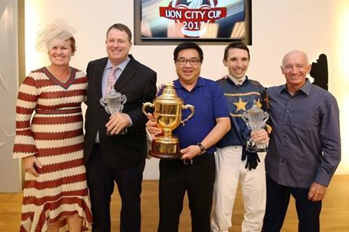 Winning team celebrates: (from left) Bridget Gray and her trainer-husband Stephen Gray, owner Mr Lim Siah Mong, jockey Danny Beasley and racing manager Mick Dittman.