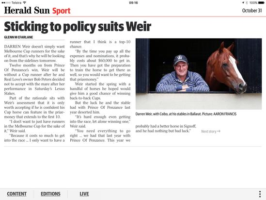 Darren Weir with our very own Ceibo in the Herald Sun